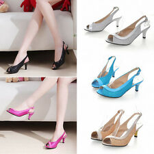 Summer Lady Low Kitten Heel Work Party Casual Peep Toe Court Shoes Pumps Sandals