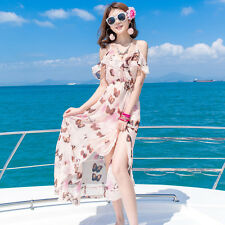 Women's Butterflies Print Spaghetti Strap Elastic  Waist Side Split Swing Dress