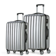 Travel Luggage 4 Wheels Cabin ABS Hard Shell Trolley Suitcase Silver 20 24inch