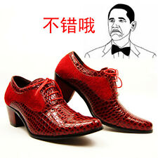 Fashion Men's Dress Pointed Toe Lace Up Comfort PU Leather Cuban Heel Shoes
