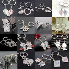 1 Pair Love Heart Symbols Key Chain Ring Keyring Keyfob Lover Couples Gift Hot