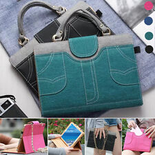 Universal Carrying Handbag Denim Jeans Leather Wallet Stand Case Cover for iPad