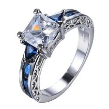 925 Silver Natural 0.8CT White Topaz &Sapphire Wedding Engagement Ring Size 6-12
