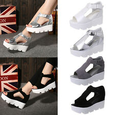 Women Ladies Summer Peep Toe Strappy Platforms Wedge Sandals Shoes US Size 3-8