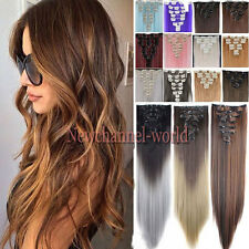 US 100% Natural as real hair Full Head Clip in Hair Extensions 8 Pieces on Curly