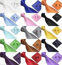 New Woven Silk Tie Cufflinks and Handkerchief Gift Set Hanky For Wedding Party