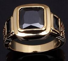 18K GOLD EP 2.5CT BLACK SAPPHIRE EMERALD CUT MENS DRESS RING size 8 - 12