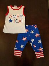 Toddler Girl America Capri Star Red White & Blue 4th of July Boutique 2PC Outfit