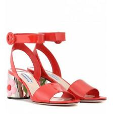 Womens Floral Leather Ankle Strap Sandals Chunky High Heel Shoes Open Toe Pumps
