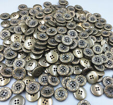 Vintage Resin Buttons Carving 4-holes DIY decoration crafts Coppery sewing 15mm