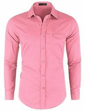Doublju Mens Basic Solid Long Sleeve Cotton Button Down Collar Shirts PINK 2
