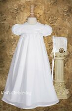 Girls White Christening Gown Baptism Dress Lace 100% Cotton HANDMADE 0-12M TR20