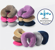 Memory Foam U-Shaped Travel Pillow Neck Support Head Rest Cushion Purple Black