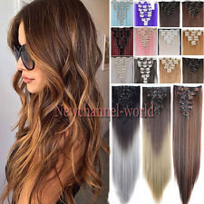 100% New Real Straight as Human Hair Full Head Clip in Hair Extensions Synthetic
