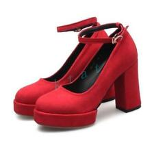 Chic Womens Party Mary Jane Platform Faux Suede High Block Heel Round Toe  Shoes