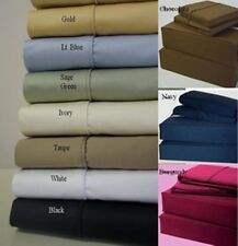 Brand New 800-1000-1200TC 15 Color US Bed Set 100% Cotton 4pc Sheet Set Solid..