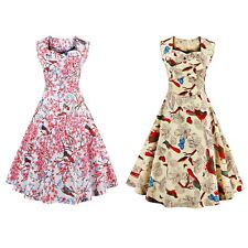 Sweetheart Neck Floral and Bird 50s Swing Dress for women with Soft material