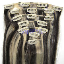 """15""""18""""20""""Clip In 7PCS Remy Human Real Hair Extensions Straight #1B/613 70g"""