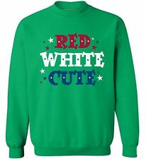 USA Flag Red White Cute Unisex Sweatshirt Crewneck 4th Of July Patriotic