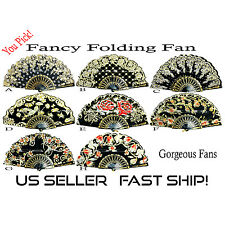 Gold Foil & Printed Hand Fan, Chinese Folding Fan  *US Seller Fast Ship*