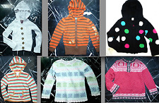 L.L. BEAN Nordic SCALLOPED Striped Polka Dot Girls Hooded CARDIGAN Sweater 5 6