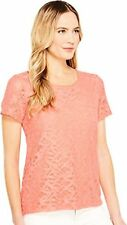 Calvin Klein Womens Short Sleeve Abstract Lace Top - Choose SZ/Color