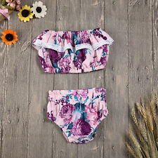 Baby Girls Infnat Floral Lace Strapless Ruffle Tube Top + Shorts Clothes Outfits