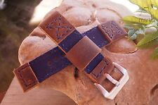 Watch Strap Blue Canvas and Vintage Brown Genuine leather any size available