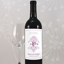 Fanciful Monogram Personalized Wedding Wine Bottle Labels Stickers Favors Lot