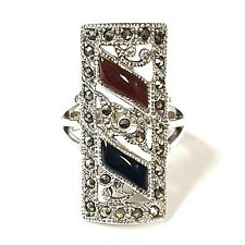 (SIZE 6,7,8,9) ONYX & CARNELIAN RING Medieval Marcasite .925 STERLING SILVER