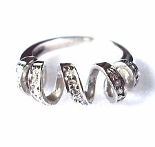 SIZE 6,7,8) SPIRAL RING 5 Loops Spiral Design CZ Stones .925 STERLING SILVER
