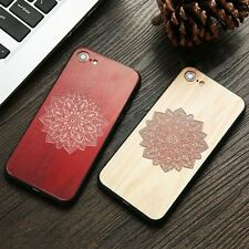 Wood Case For iphone 7 7 6 6s Plus Cover Retro 3D Embossed Flower Paisley Mandal