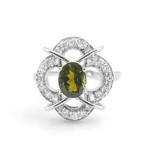 925 Sterling Silver Ring with Oval Cut Green Tourmaline Natural Gemstone Natural