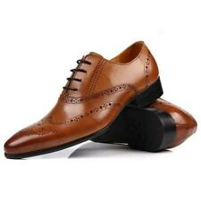 Black Brown US Size 5-11 Brogue Leather Lace Up Oxford Wingtip Mens Dress Shoes