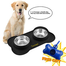 Stainless Steel Dog Cat Bowl No Spill Food and Water Double Bowls for Pet Puppy