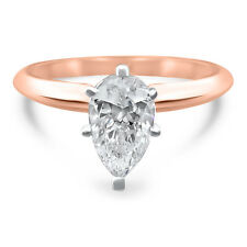 14k Rose Gold Pear CZ cubic zirconia solitaire engagement ring 6 prong