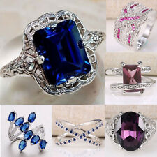 925 Silver Ring Topaz  Tanzanite Infinity Jewelry Wedding Engagement Size 6-10