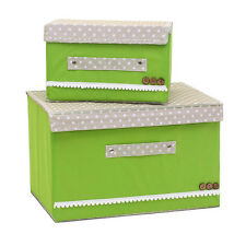 2pcs Folding Cloth Storage Boxes Nonwoven Fabric Organizer With Cover