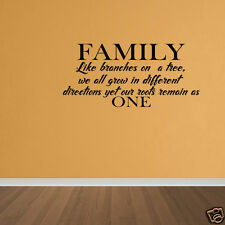 Wall Decal Family Tree Roots Branches Home Vinyl Sticker Quote Decal Quote DP332