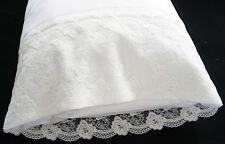 New Embroidered Lace PillowCases White 100% Cotton Standard King Pair  wm#