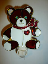 """STAINED GLASS STYLE """"TEDDY BEAR""""  NIGHT LIGHT"""