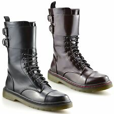Girls Kids Ladies New Lace Up Casual Military Style Ankle Biker Boots Shoes Size