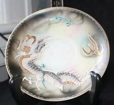 "Vntg 50s THE HINODE DRAGONWARE Japan Gray/Gharcoal Moriage DRAGON 5 1/2""d Saucer"