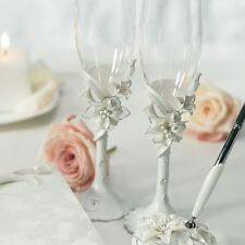 White Tiger Lily Lilies Wedding Toasting Flutes Cake Serving Set Q15445