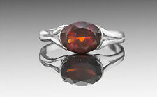 925 Sterling Silver Ring with Oval Cut Red Garnet Natural Gemstone Bezel Setting