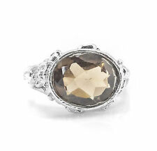 925 Sterling Silver Ring with Oval Cut Smoky Topaz Natural Gemstone Handcrafted.