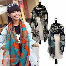 Women Casual Chic Voile Soft Charm Sheer Floral Print Wrap Pashmina Shawl Scarf