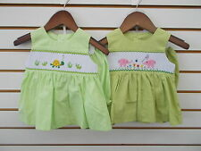Infant, Toddler, & Girls Mom & Me Green Smocked Dresses w/ Bloomers Size 3m - 4
