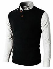 H2H Mens Knitted Sweater Two Buttons Henley Vest - Choose SZ/Color
