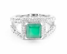 925 Sterling Silver Ring with Natural Green Onyx Square Cut Gemstone Handcrafted